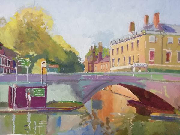 Afternoon on The Cam – Gouache on paper 30 x 40cms