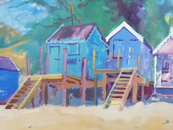 Beach huts, Wells 2019 – Gouache on paper 55 x75 cms