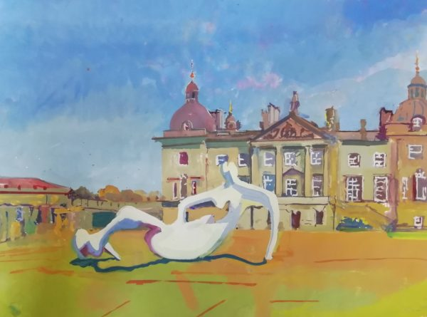 Henry Moore at Houghton Hall 2019 – Gouache on paper 55 x 75 cms – Archive