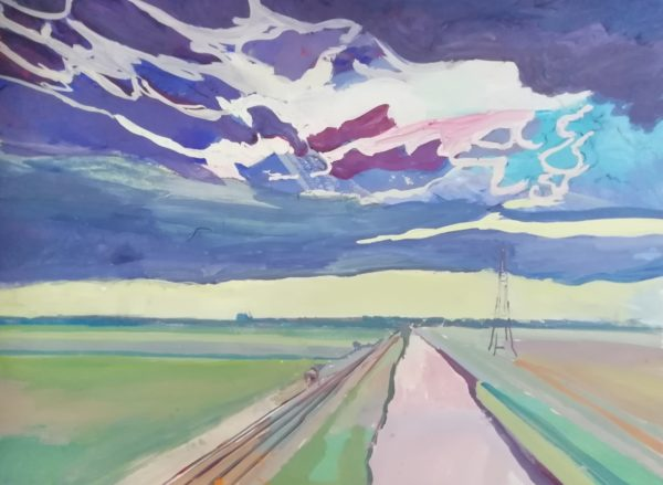 Towards Cantley 2 – Gouache sketch on paper 50 x 70 cms