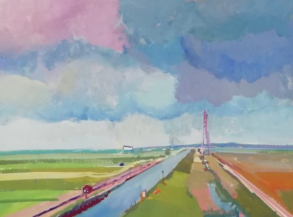 Towards Cantley – Gouache on paper 20 x 30 cms