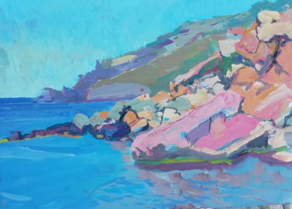 A rocky promontory, Tinos – Gouache and ink on paper 10 x 14