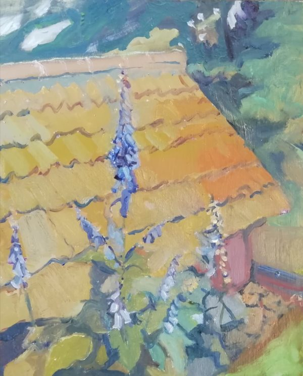 Digitalis by the Well House – Oil on gessoed card 30 x 25 cms