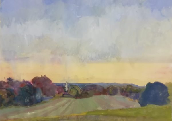 Evening afterglow, The Chase – Gouache on paper 55 x 75 cms