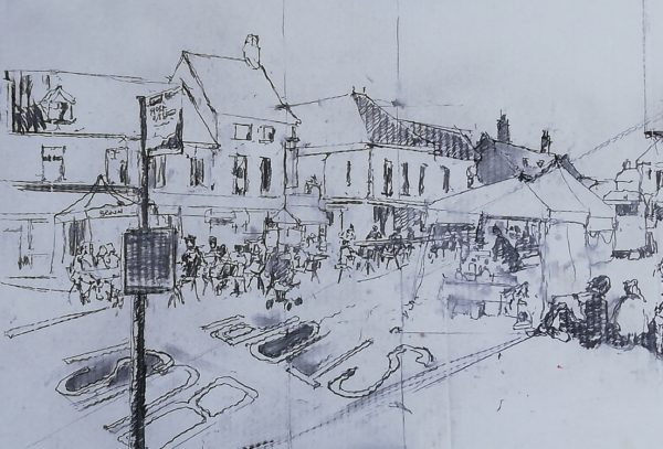 Holt Festival Street party – Charcoal on pizza box 50 x 50 cms